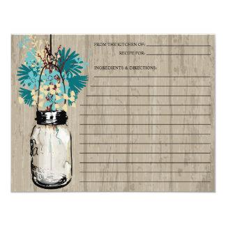 Rustic Mason Jar and Wildflowers   Recipe 4.25x5.5 Paper Invitation Card