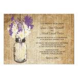 Rustic Mason Jar and Wildflowers Wedding Invitation