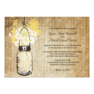 Rustic Mason Jar and Wildflowers Wedding 5x7 Paper Invitation Card