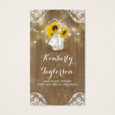 Rustic Mason Jar Baby's Breath And Sunflowers Business Card at Zazzle