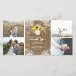 """Rustic Mason Jar Baby&#39;s Breath and Sunflowers Lace Thank You Card<br><div class=""""desc"""">Baby&#39;s breath and sunflowers bouquet,  mason jar,  lace,  wood,  and string lights rustic country wedding photo cards with photos from your very special day</div>"""