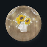 """Rustic Mason Jar Baby's Breath and Sunflowers Paper Plate<br><div class=""""desc"""">Rustic country barn wood wedding paper plates with mason jar,  baby's breath,  sunflowers,  lace,  and string lights</div>"""