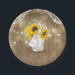 "Rustic Mason Jar Baby's Breath and Sunflowers Paper Plate<br><div class=""desc"">Rustic country barn wood wedding paper plates with mason jar,  baby's breath,  sunflowers,  lace,  and string lights</div>"