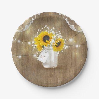 sc 1 st  Zazzle & Rustic Barn Wedding Wood Mason Jar Babys Breath Paper Plate | Zazzle.com