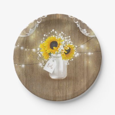 sc 1 st  Zazzle & Rustic Barn Wedding Wood Mason Jar Babys Breath Paper Plate | Zazzle.com