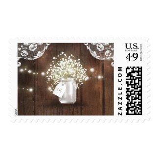 Rustic Mason Jar Baby's Breath Barn Wedding Postage