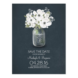 rustic mason jar baby's breath save the date postcard