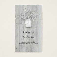 Rustic Mason Jar Baby's Breath String Lights Wood Business Card at Zazzle