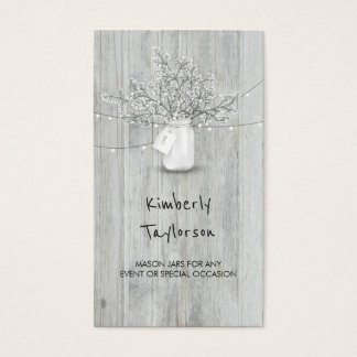 Rustic Mason Jar Baby's Breath String Lights Wood Business Card