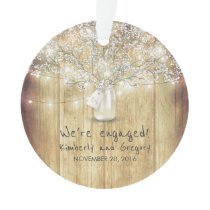 Rustic Mason Jar Baby's Breath String Lights Wood Ornament