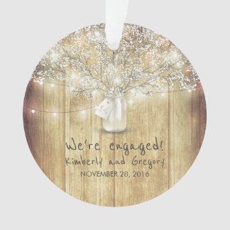 Rustic Mason Jar Baby's Breath String Lights Wood Ornament