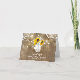 Rustic Mason Jar Baby's Breath Sunflower Thank You