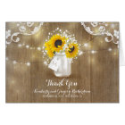 Rustic Mason Jar Baby's Breath Sunflower Thank You Card