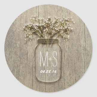 Rustic Mason Jar Baby's Breath Wedding Classic Round Sticker