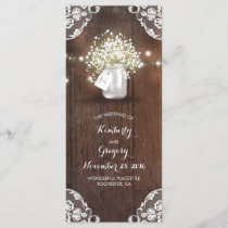 Rustic Mason Jar Baby's Breath Wedding Programs