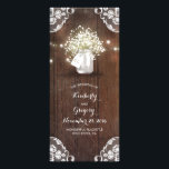 "Rustic Mason Jar Baby&#39;s Breath Wedding Programs<br><div class=""desc"">Rustic barn wedding programs with mason jar,   baby&#39;s breath,  wood,  lace,  and romantic string lights</div>"