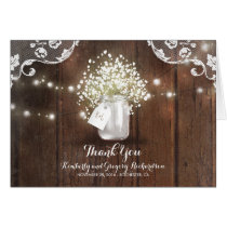 Rustic Mason Jar Baby's Breath Wedding Thank You