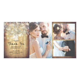 Rustic Mason Jar Baby's Breath Wedding Thank You Card