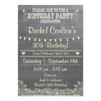 Rustic Mason Jar Birthday Party Invitation