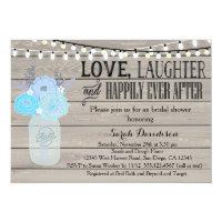 Rustic Mason Jar Blue Bridal Shower Invitation