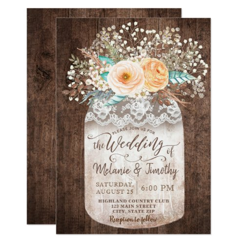 Rustic Mason Jar Boho Wood Wedding Invitations