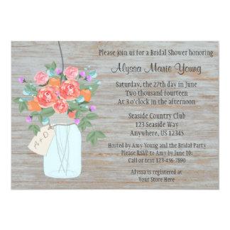 "Rustic Mason Jar Bridal Shower Invitation 5"" X 7"" Invitation Card"