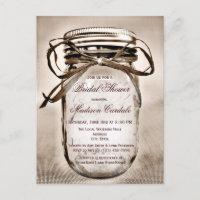 Rustic Mason Jar Bridal Shower Invitation POSTCARD