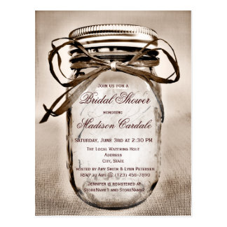 Rustic Mason Jar Bridal Shower Invitation POSTCARD
