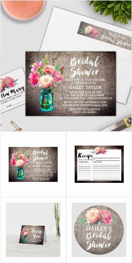 Rustic Mason Jar Bridal Shower Invitation Set