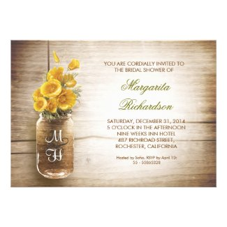 rustic mason jar bridal shower invitations