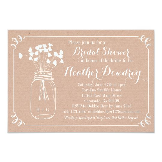 Rustic mason jar bridal wedding shower invitation zazzle rustic mason jar bridal wedding shower invitation filmwisefo