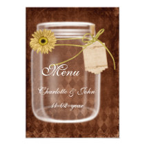 rustic mason jar  brown wedding menu card
