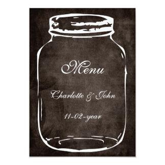 "rustic mason jar  brown wedding menu 5"" x 7"" invitation card"