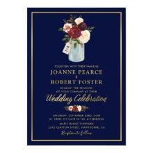 Rustic Mason Jar Burgundy Navy Blue Gold Wedding