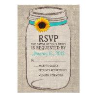 Rustic Mason Jar & Burlap and Sunflower RSVP Card