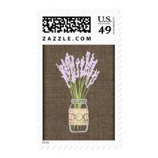 Rustic Mason Jar Burlap Wedding Postage Stamps