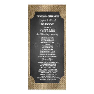 Rustic Mason Jar Burlap Wedding Program Custom