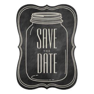 RUSTIC MASON JAR | CHALKBOARD SAVE THE DATE CARD