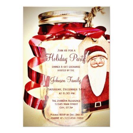 Rustic Mason Jar Christmas Party Invitations