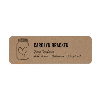 Rustic Mason Jar Cute Heart Kraft Brown Paper Label