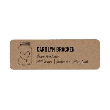 Valentines Themed Rustic Mason Jar Cute Heart Kraft Brown Paper Label