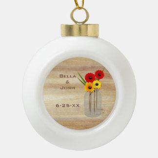 Rustic Mason Jar Daisies Ceramic Ball Ornament