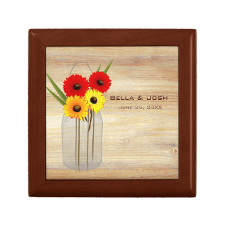 Rustic Mason Jar Daisies Wedding Gift Box