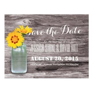 Rustic Mason Jar & Daisy Wood Save the Date Postcard