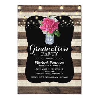 Rustic Mason Jar Elegant Floral Graduation Party Card