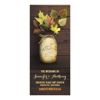 Rustic mason jar Fall Wedding Programs