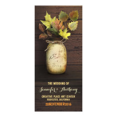 Rustic mason jar Fall Wedding Programs Rack Card Template