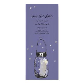 "Rustic Mason Jar & Fireflies Save the Date 4"" X 9.25"" Invitation Card"