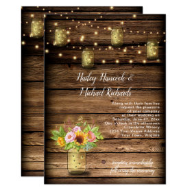 Rustic Mason Jar Fireflies Sunflowers String Light Invitation