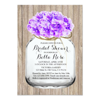 "Rustic mason jar floral purple bridal shower hyd3 4.5"" x 6.25"" invitation card"